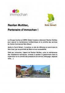 Reolian Multitec, partenaire d'Immochan