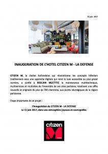 Inauguration de l´hôtel CITIZEN M - LA DEFENSE